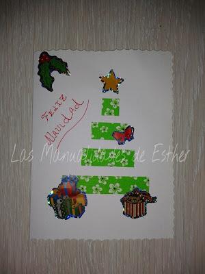 tarjeta de navidad realizada a mano con washitape