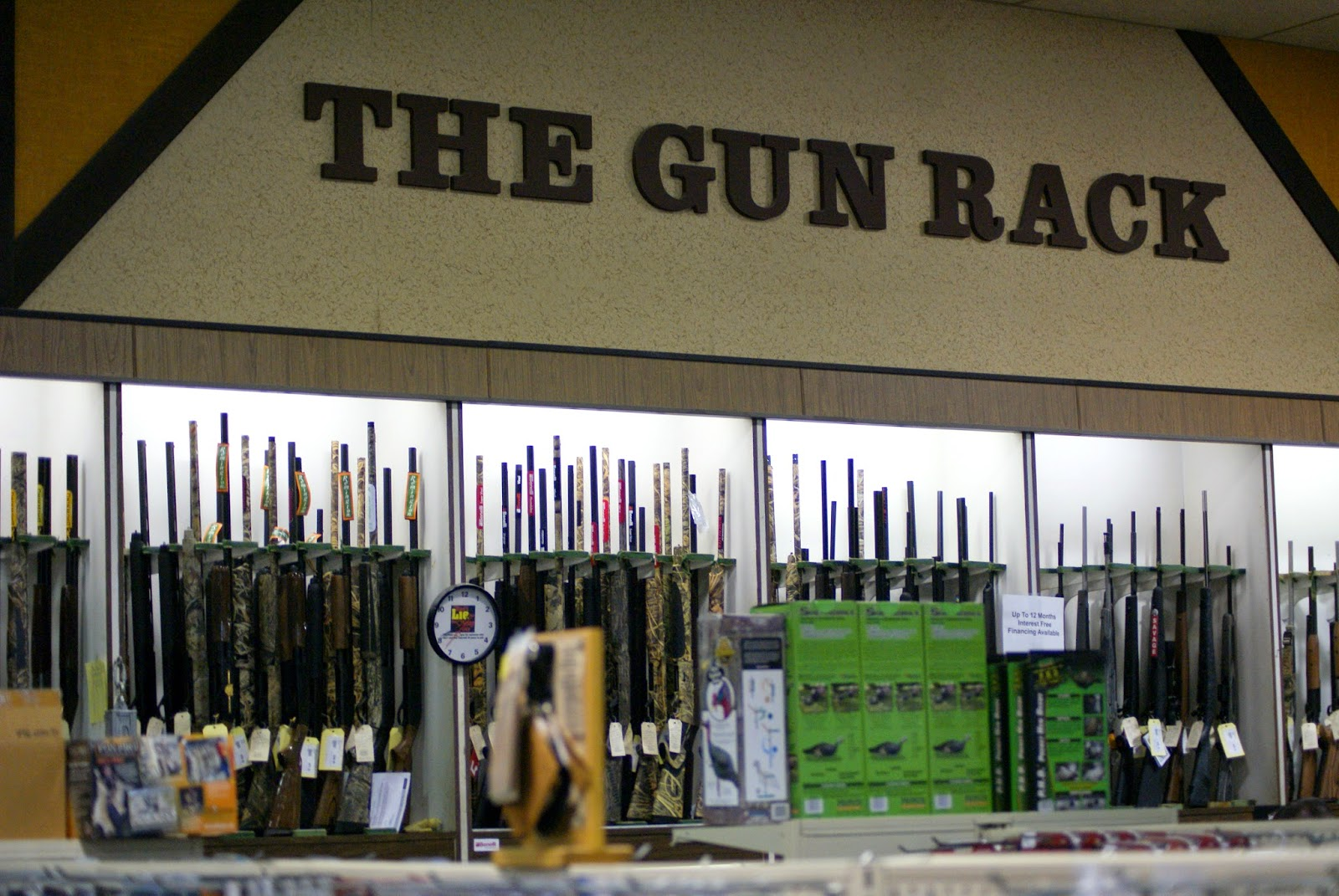 The gun rack at the Hunting Store, Alexandria