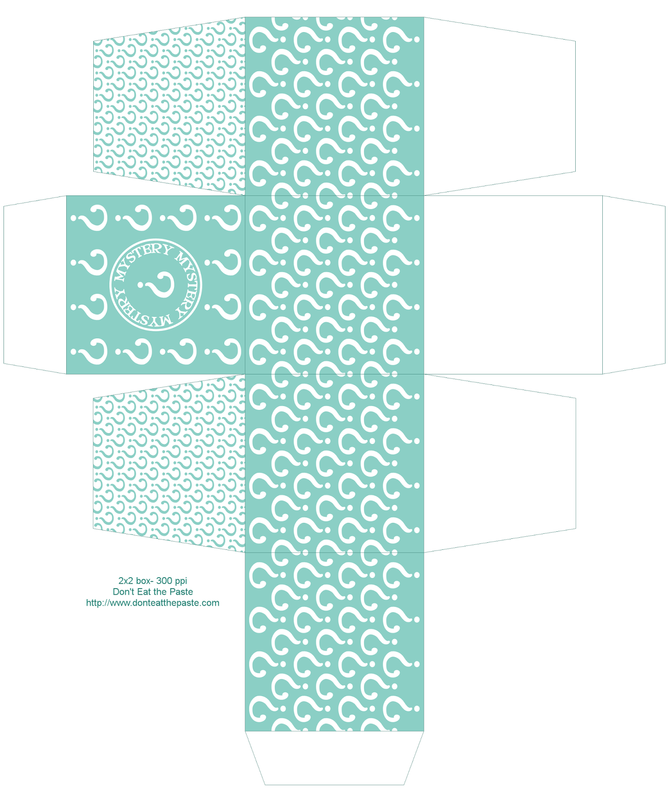 Printable mystery box- also available in orange, green and purple #paper #crafts #partyideas