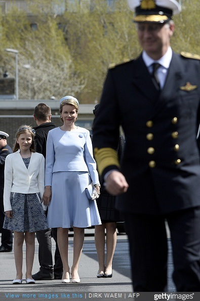 King Philippe of Belgium, Queen Mathilde of Belgium and Princess Elisabeth, Duchess of Brabant, attend the ship launching ceremony of the P902 Pollux ship with the Duchess of Brabant as official godmother, at the Zeebrugge naval base