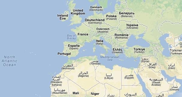 Mapa norte Africa e sul Europa, invasão da Europa pelos muçulmanos