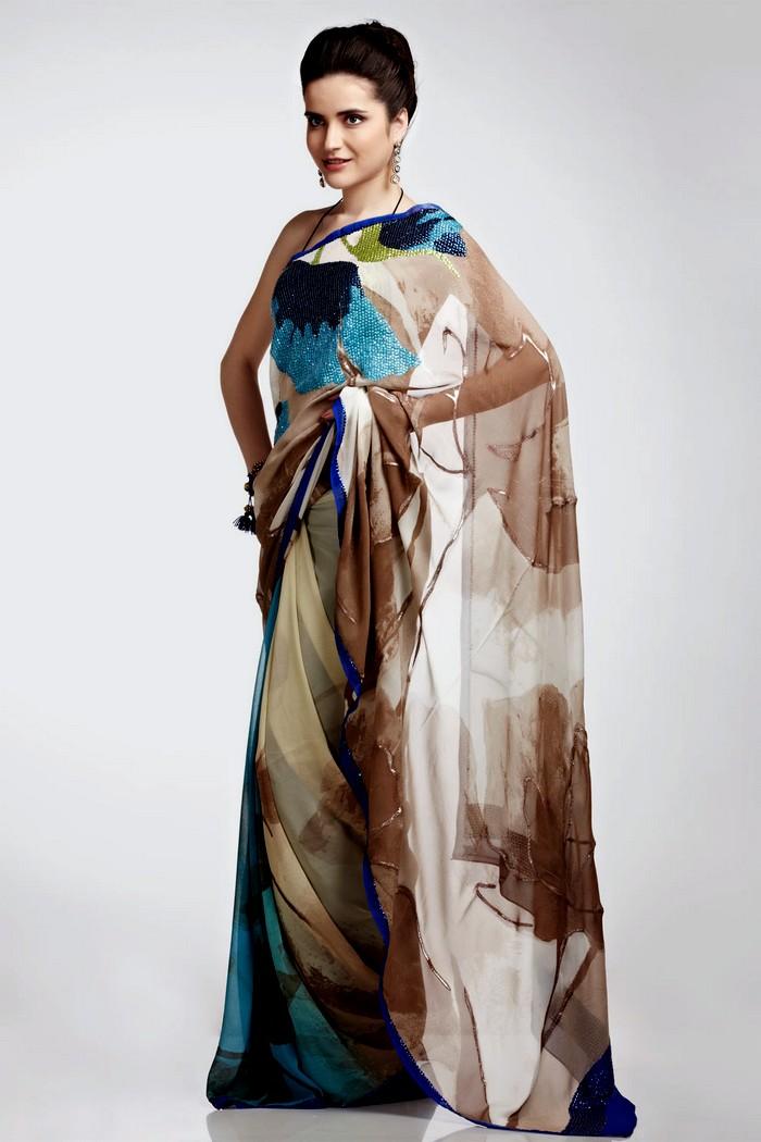 Satya Paul Printed Sarees Chiffon Printed Sarees She9 Change The Life Style