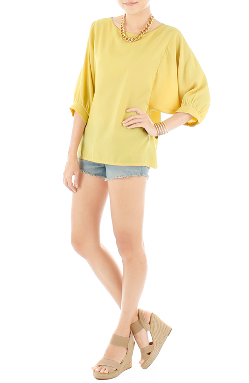 Dolman Back Button Blouse - Lemon