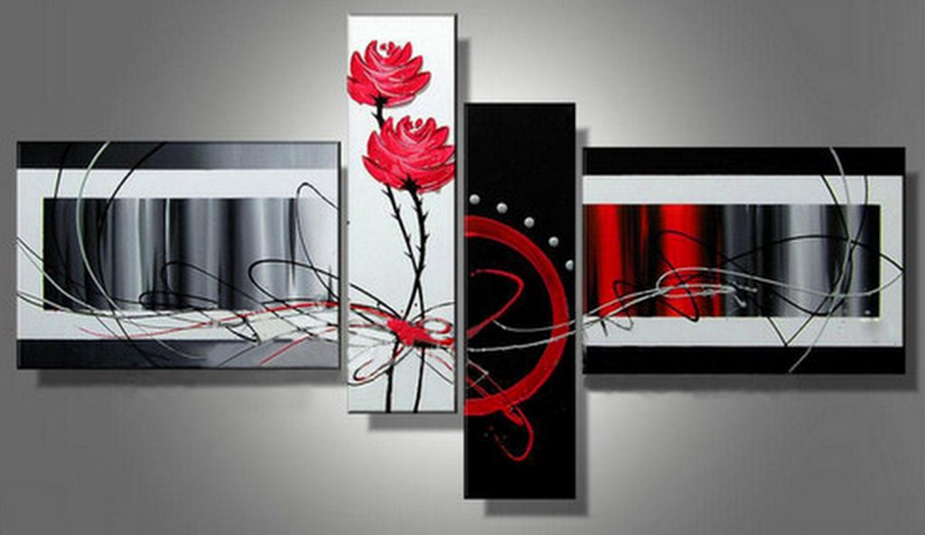 cuadros modernos con flores al leo