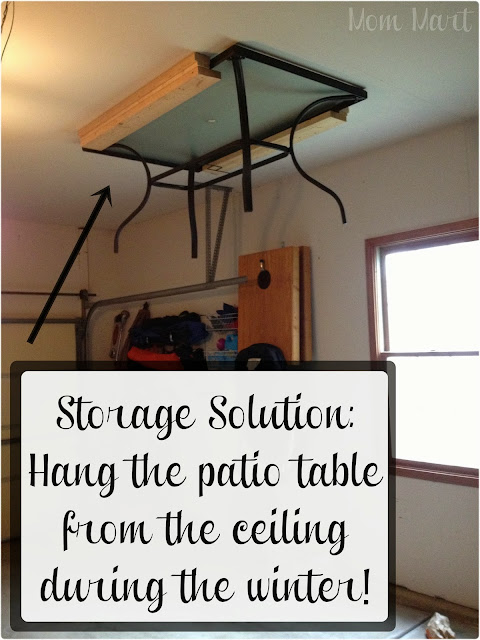 Storage Solution for storing the Patio Table during the Winter