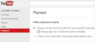 تشغيل فيديوهات اليوتيوب بصيغة HD