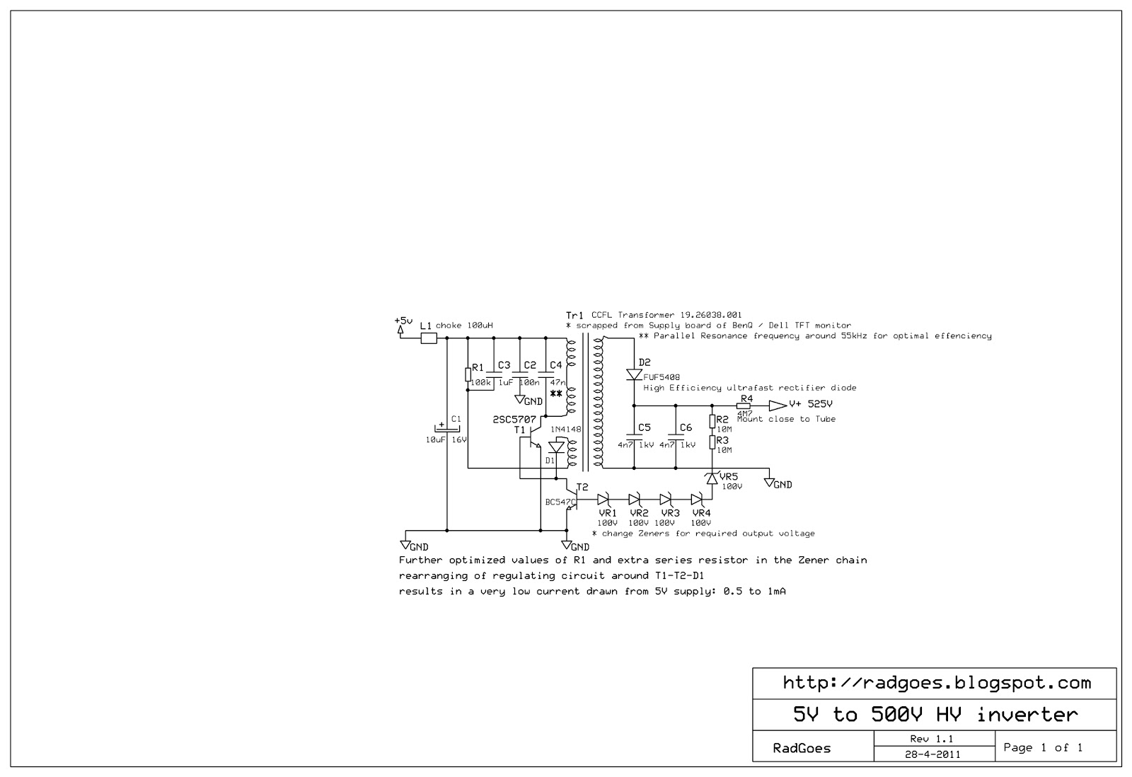 Radiation In Goes Zeeland Nl Geiger Counter 2011 Fig 1a The Basic Circuit Hv Inverter Schematic V11