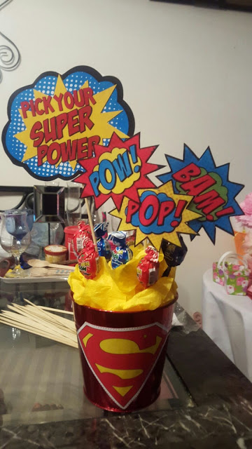 DIY superman centerpiece