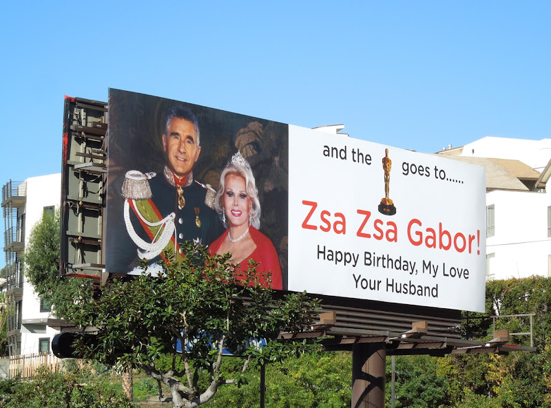 Happy Birthday Zsa Zsa Gabor billboard Sunset Strip