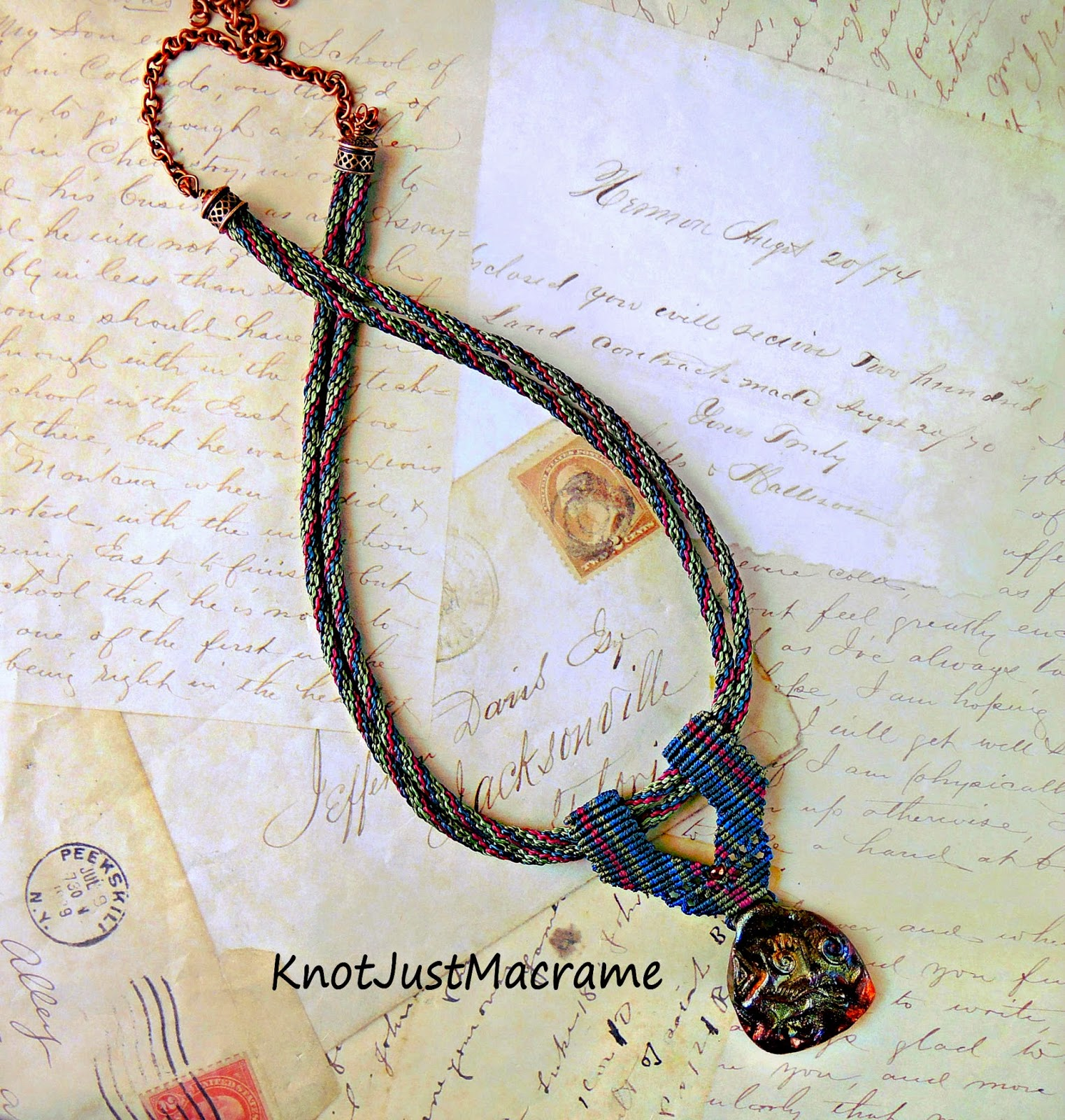 Micro macrame necklace knotted by Sherri Stokey of Knot Just Macrame.