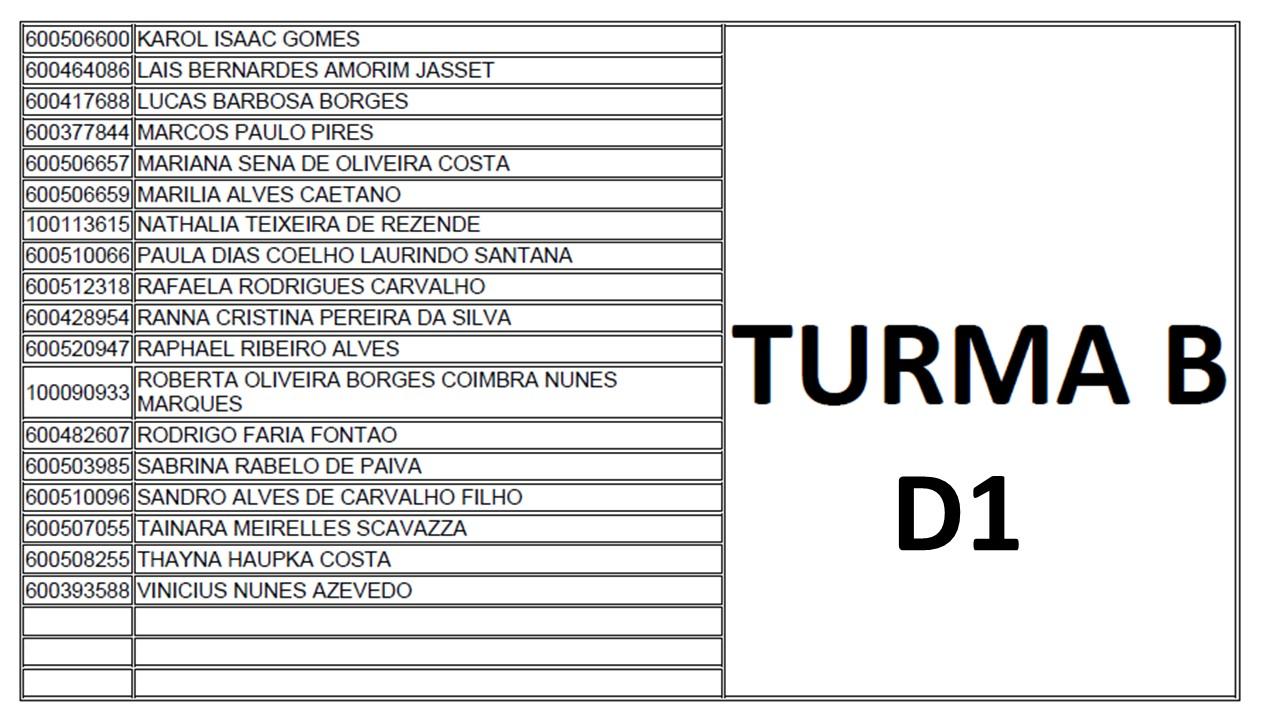 TURMA B D1