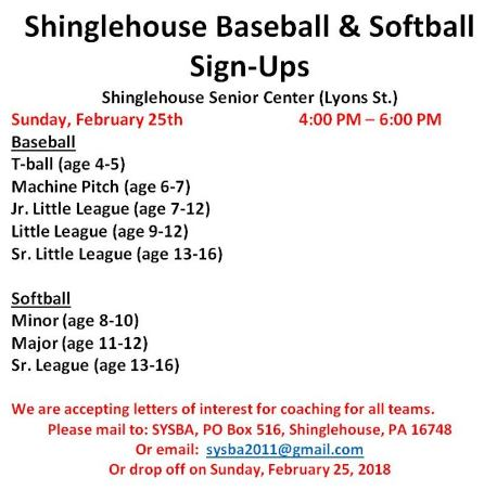 2-25 Shinglehouse Sign-Ups