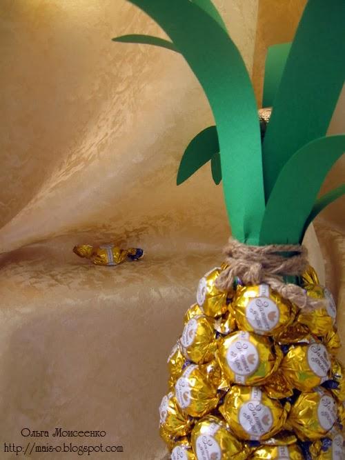 как сделать ананас из конфет, конфетная композиция