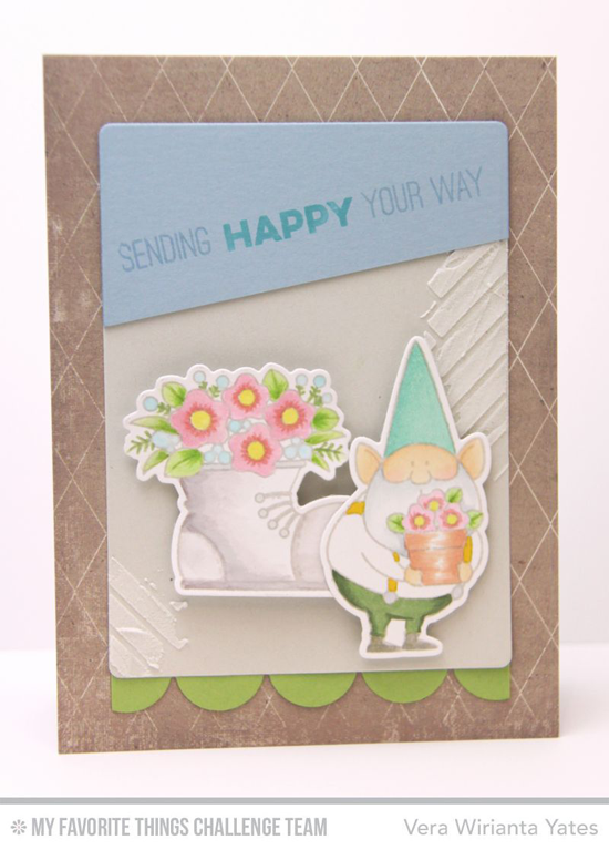 Sending Happy Your Way Card from Vera Wirianta Yates featuring the Birdie Brown You Gnome Me stamp set