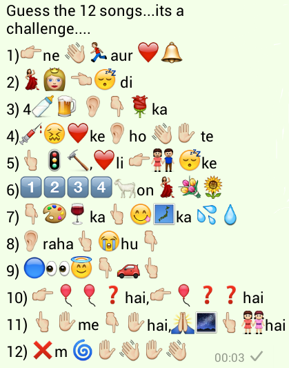 Guess the 12 Songs Whatsapp puzzle quiz