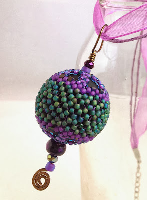 Purple Frost pendant necklace by Karen Williams - kits available on Etsy