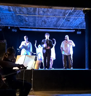 Robert Hugill The Genesis of Frankenstein The Helios Collective Isolde Roxby, Noah Mosely, Tom Asher at CLF Arts Cafe as part of Toi Toi 2015