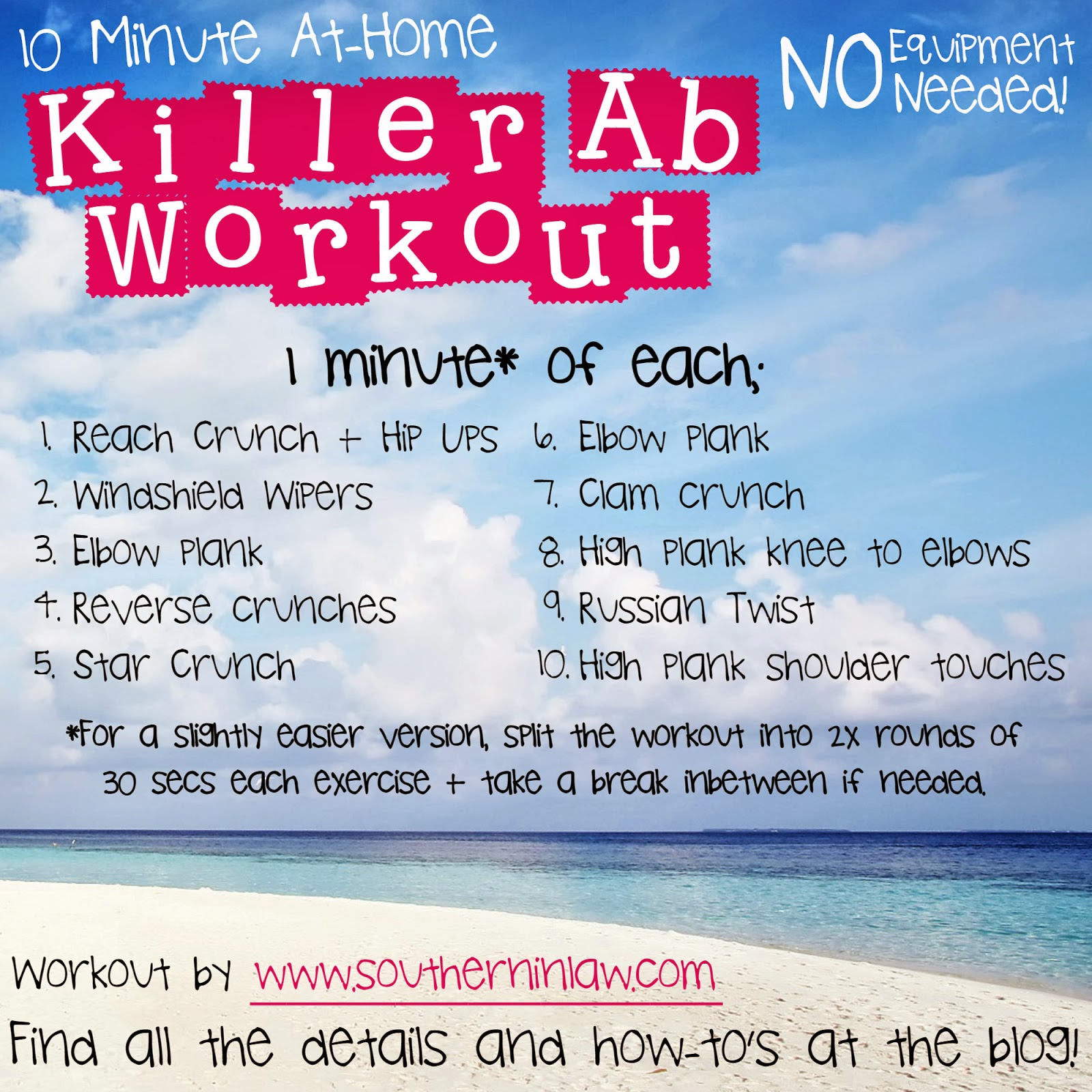 Southern In Law: Killer 10 Minute Ab Workout
