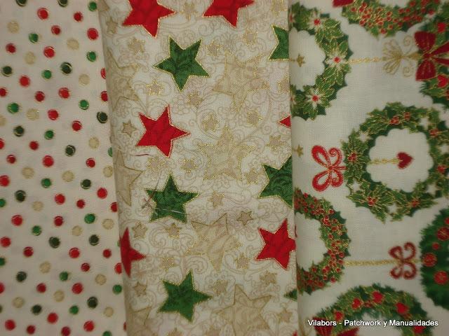 Telas navidad 2012 - Estrellas, bambalinas o coronas en fondo blanco