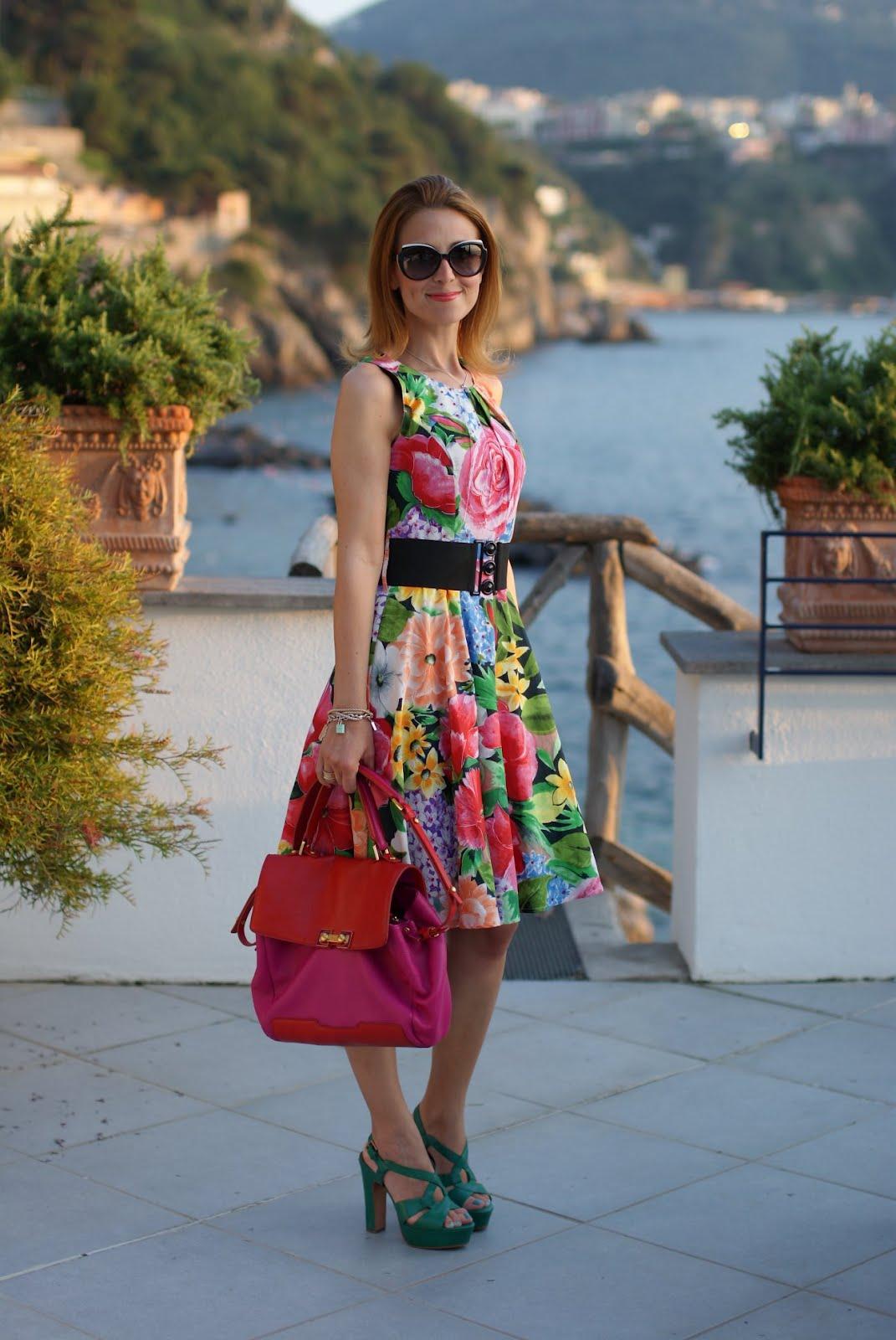 50's style flower print dress