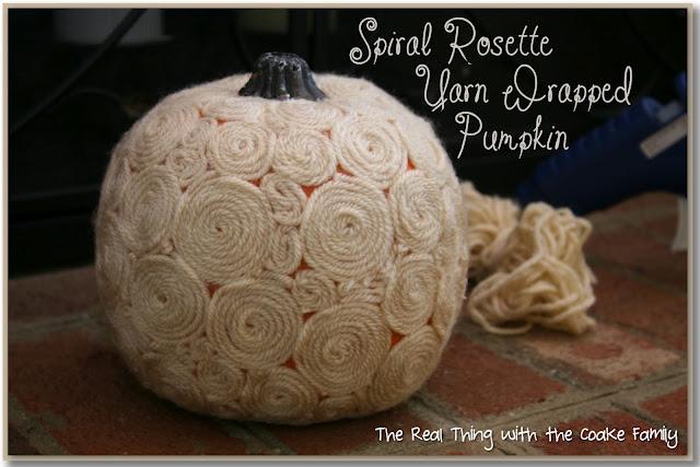 yarn rosette pumpkins
