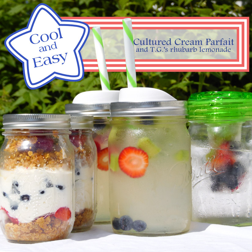 Recipes for a no-bake cultured cream parfait and rhubarb lemonade