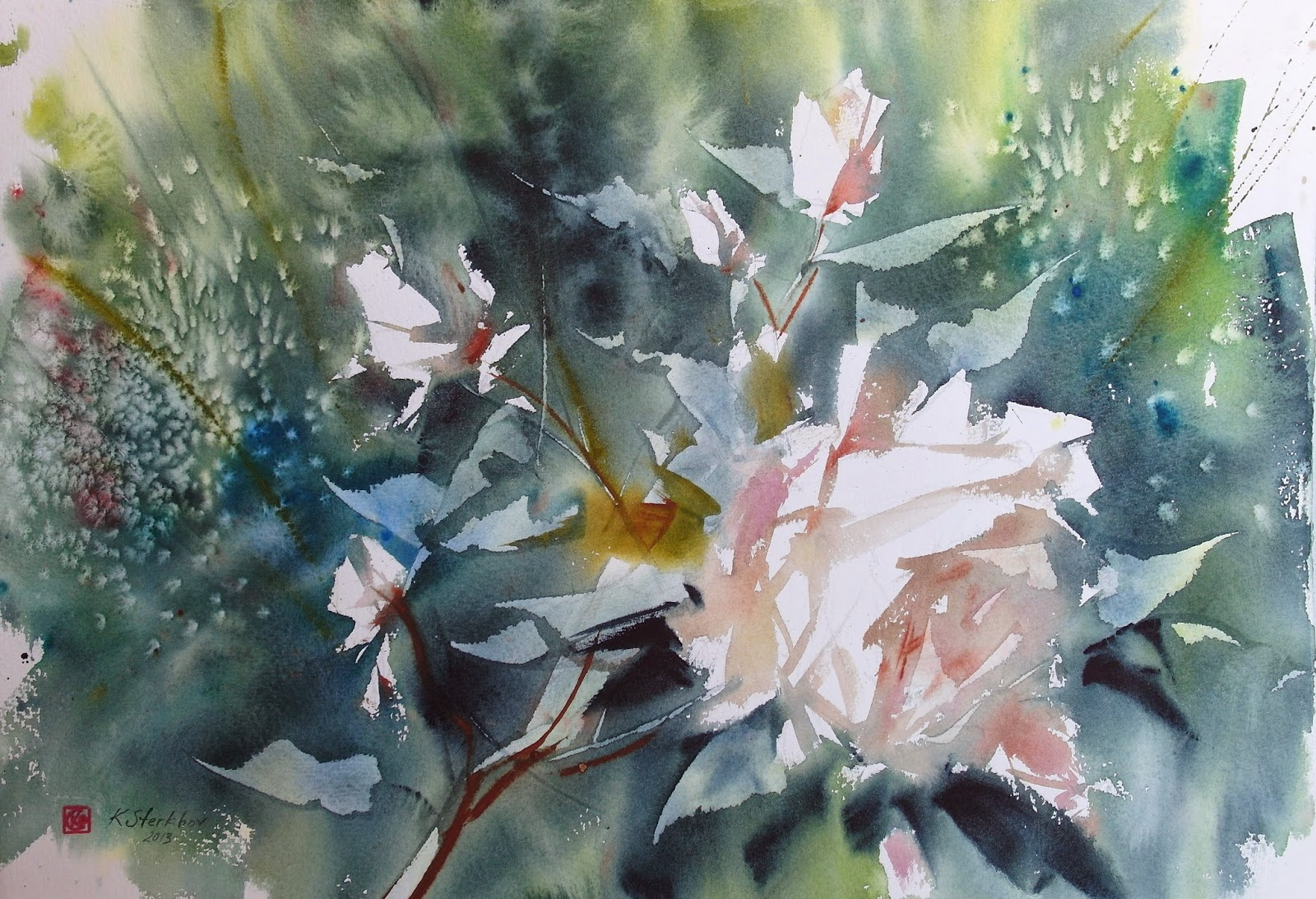 Art Of Watercolor White Flowers