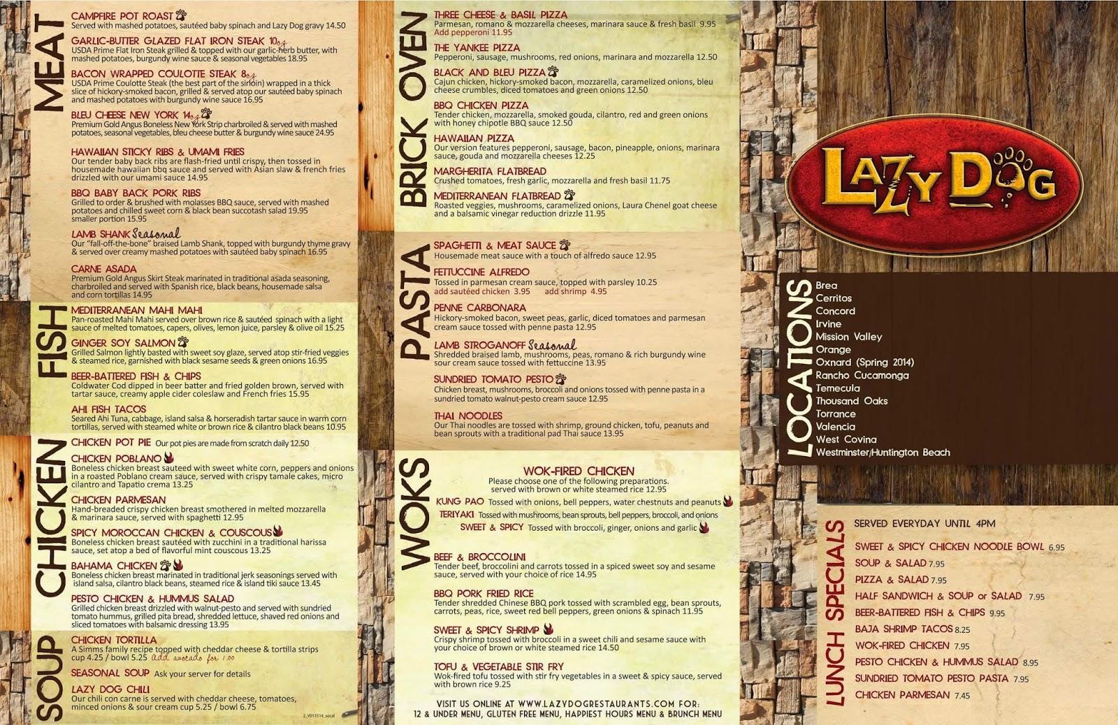Lazy Dog Cafe Orange Ca Menu