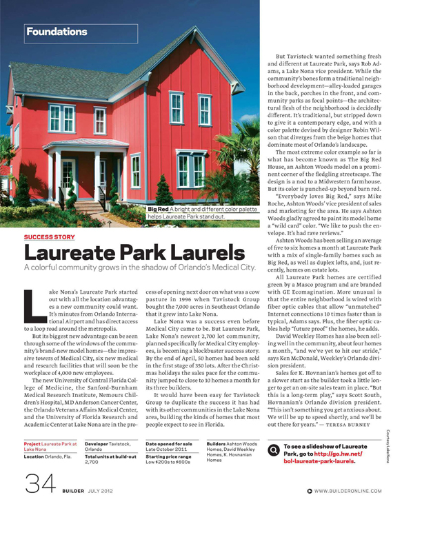 This Months Issue Of Builder Magazine Has A Feature Story On Laureate Park New Community In Orlando Florida Featuring Ashton Woods Homes Very Own Big