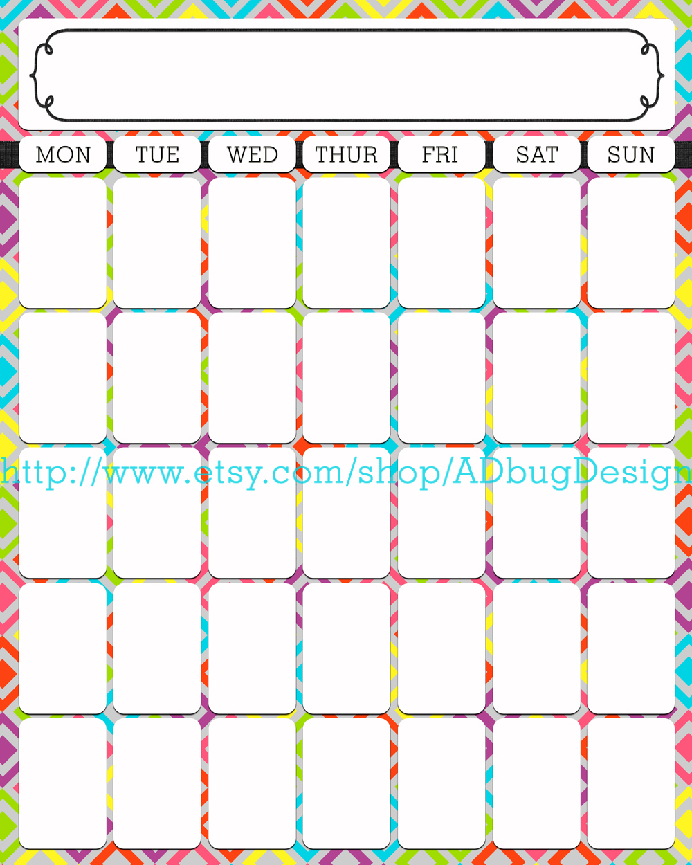 Calendar Days : Adbug photography calendar template