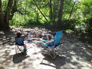 camping, children, camp chairs, campfire