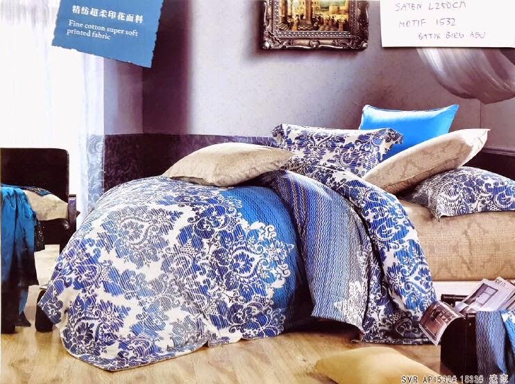 Sprei Satin Jepang Motif Batik Biru Abu