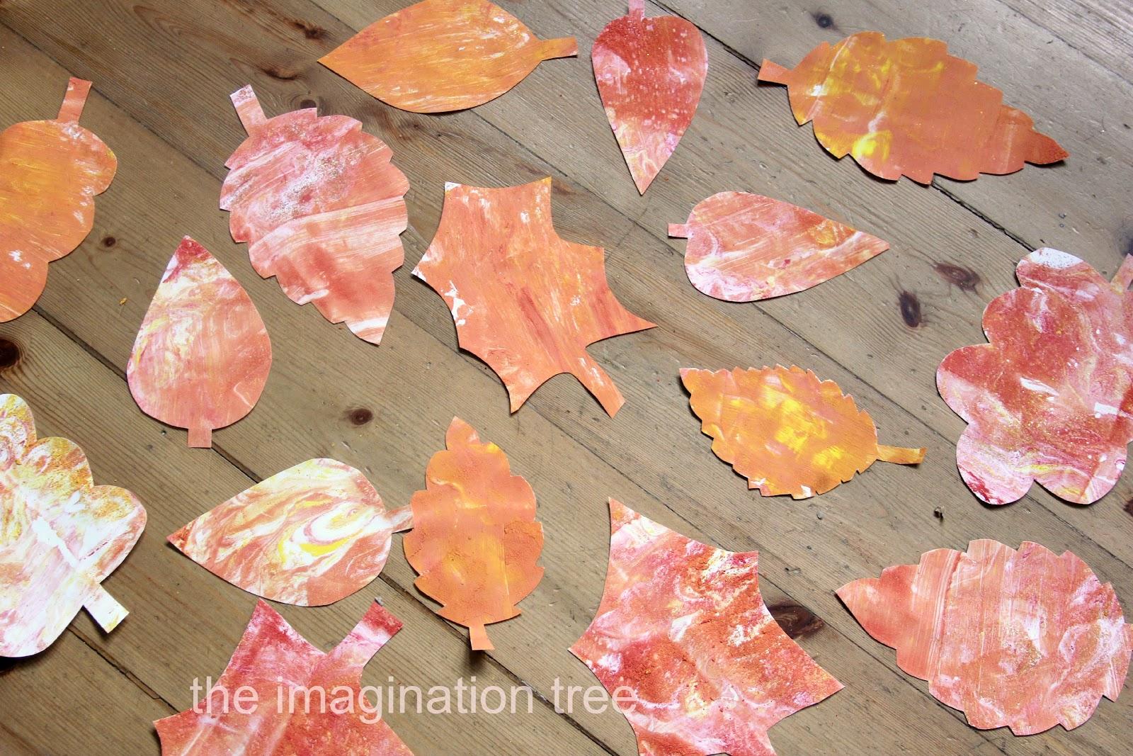 Shaving cream marbling autumn leaves the imagination tree for Shaving cream paint