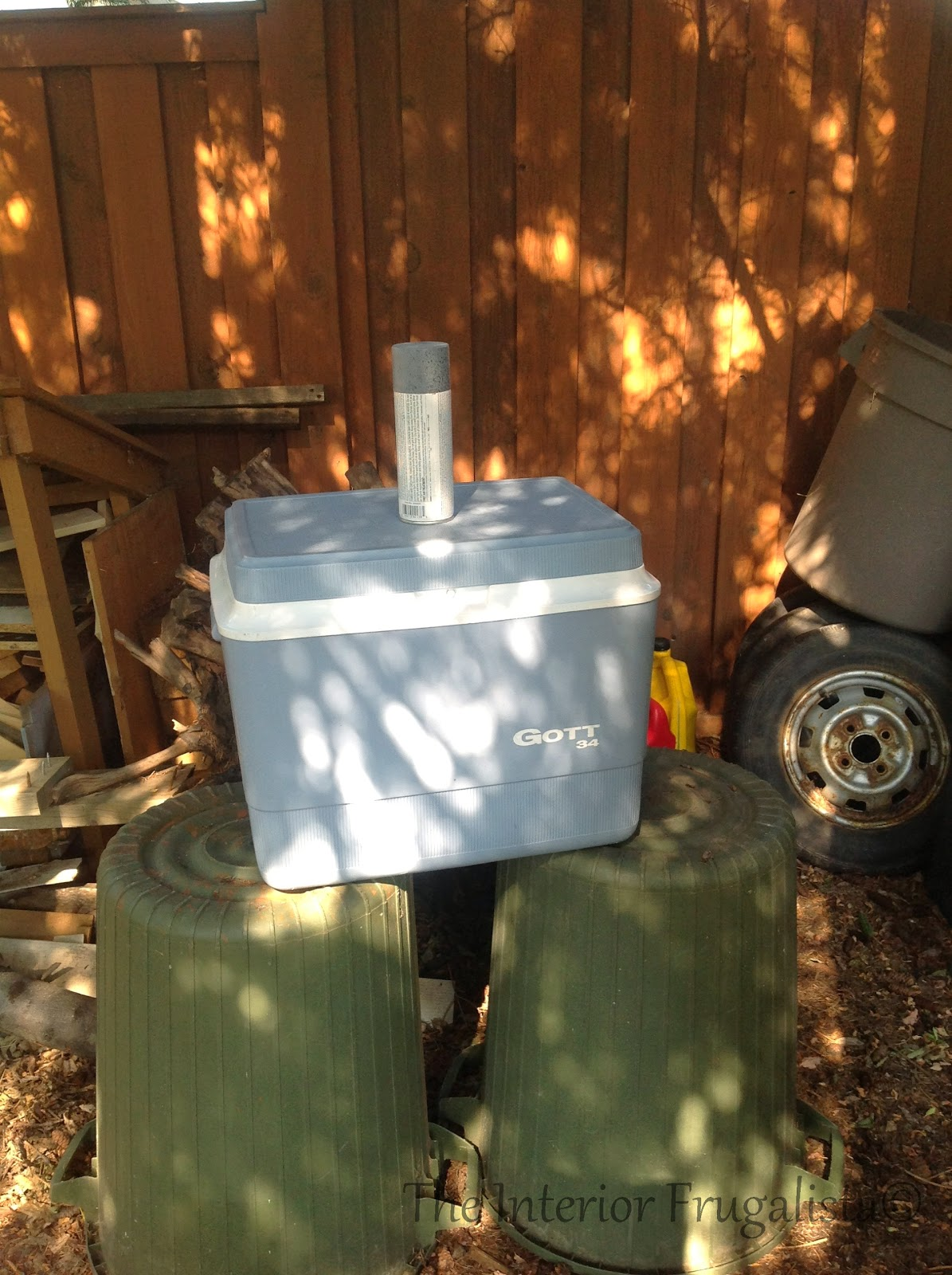 DIY potting bench and outdoor bar painting the cooler