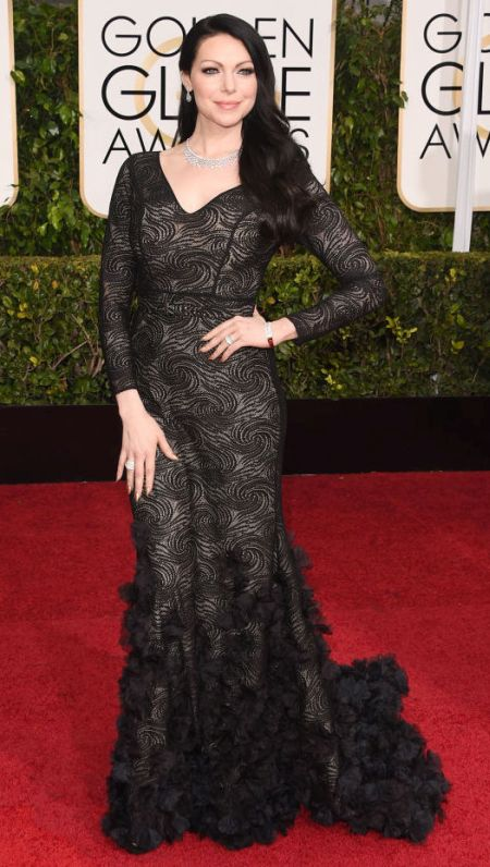 Laura Prepon in a Christian Siriano dress at the Golden Globes 2015