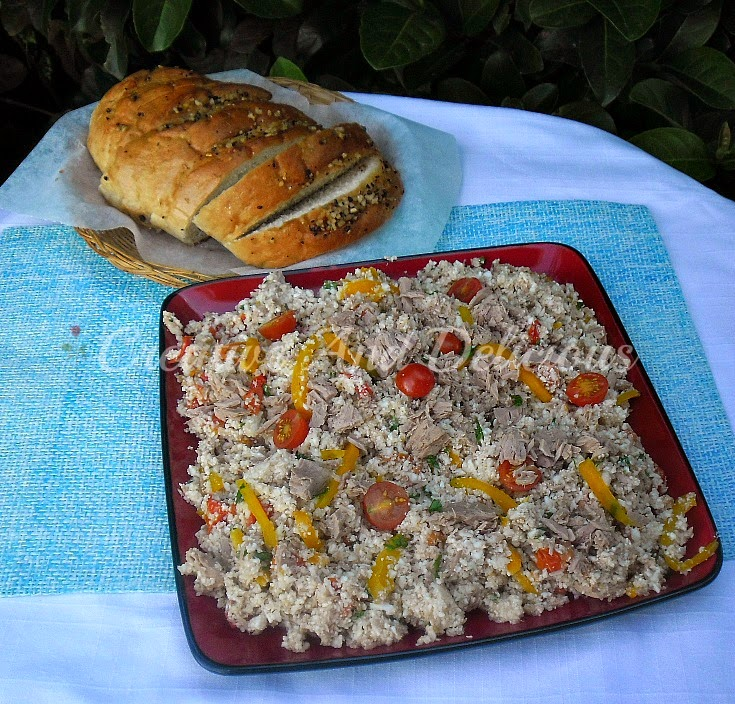 Cauliflower Couscous and Tuna Salad ~ cool and perfect for lunch or a light dinner #TunaSalad #Salad #CauliflowerCouscous