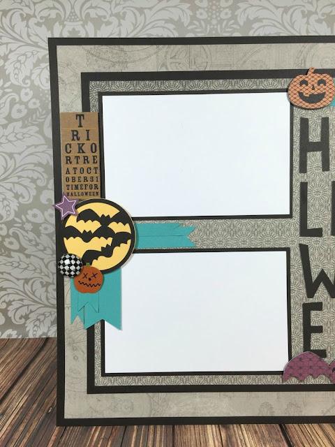 Cricut Artistry Halloween scrapbook layout
