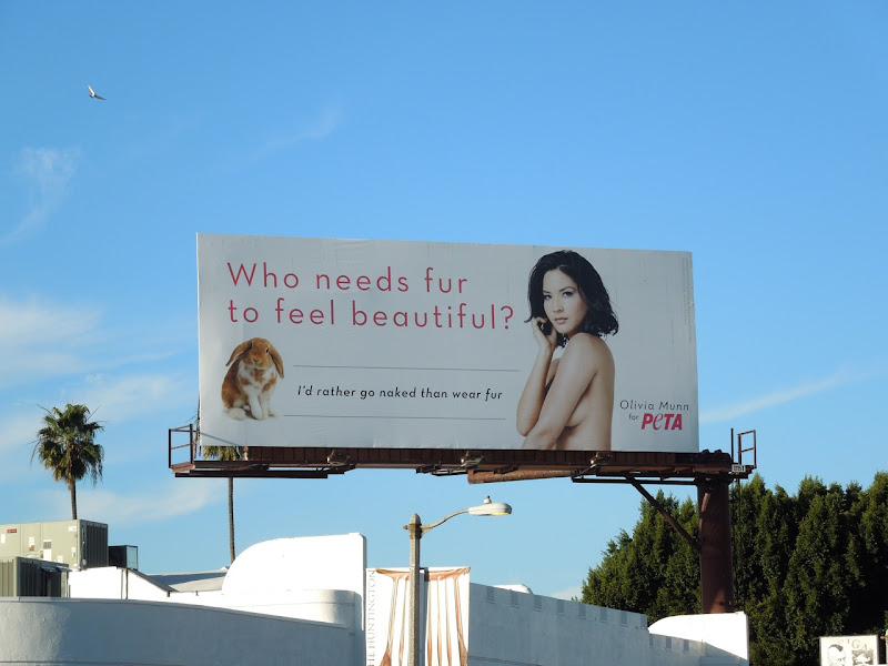Olivia Munn PETA anti-fur billboard