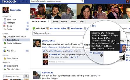 Modificación grupos Facebook confirmación de lectura