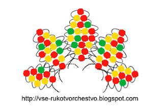 Клен из бисера схема параллельным плетением
