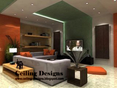 Living Room on Green False Ceiling Designs For Living Room   Made From Gypsum With