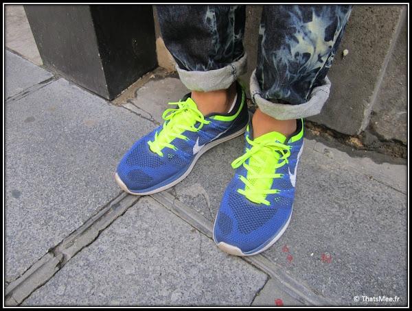 Sneakers Nike flyknit homme bleu et jaune fluo
