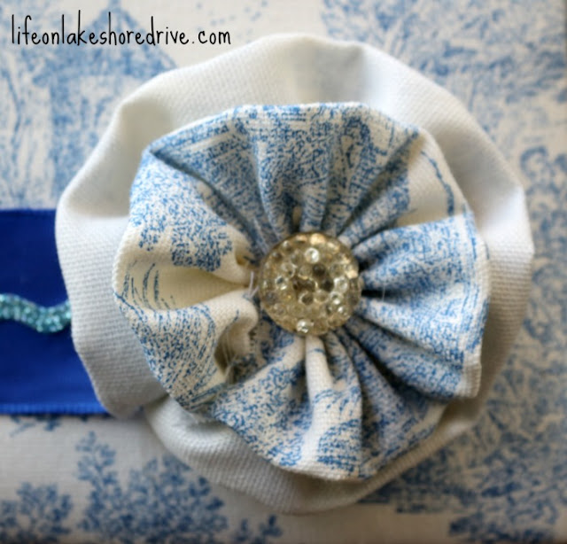 how to make fabric flower rosette with button tutorial    Life on Lakeshore Drive