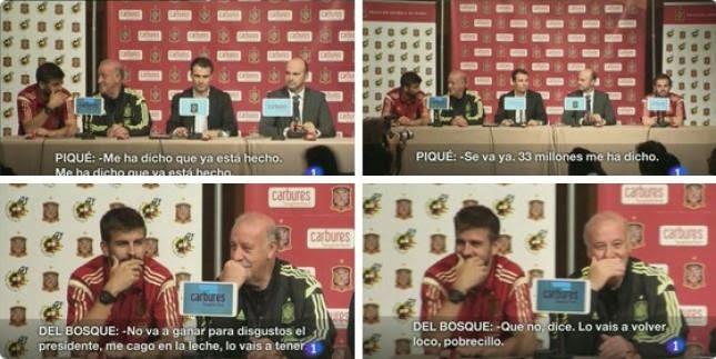 Piqué y Vicente del Bosque hablan sobre Cesc, 33 millones