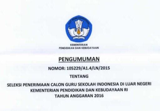 Seleksi Penerimaan Guru Sekolah Indonesia Di Luar Negeri Untuk Non PNS Tahun 2016