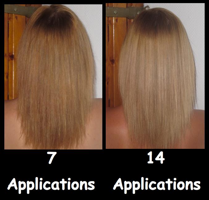 mise a jour alors voici le rsultat entre le 1er pot 7 applications la fin du 2eme pot 14 applications - Gele Claircissante Garnier Sur Cheveux Colors