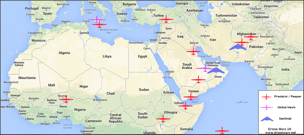 Approximate Position Of Reaper Predator Bases In Region With Greatest Concentration Now On Iraq Syria Note Other Drones Are Deployed High Altitude Global