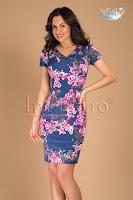 Rochie albastra imprimeu floral roz (Tiffani)