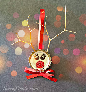 bottle cap reindeer ornament for christmas craft