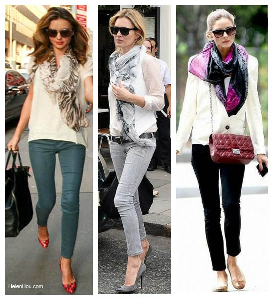 How to wear scarf with tee shirt